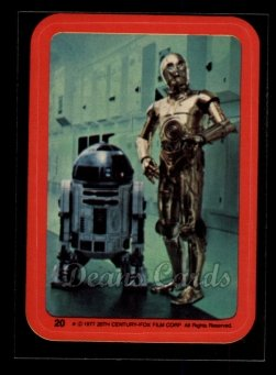 1977 Topps Star Wars Stickers #20   R2-D2 and C-3PO