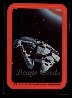 1977 Topps Star Wars Stickers #21   The Millennium Falcon Speeds