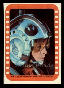 1977 Topps Star Wars Stickers #45   A Cruicial Moment for Luke Skywalker