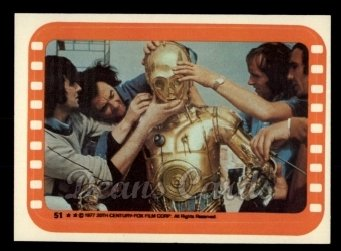 1977 Topps Star Wars Stickers #51   Technicians Ready C-3PO for the Cameras