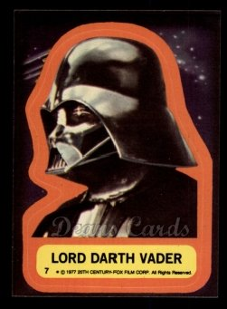 1977 Topps Star Wars Stickers #7   Lord Darth Vader