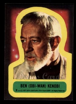 1977 Topps Star Wars Stickers #9   Ben (Obi-Wan) Kenobi