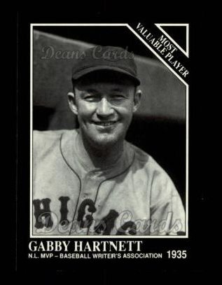 1991 Conlon #313   -  Gabby Hartnett Most Valuable Player