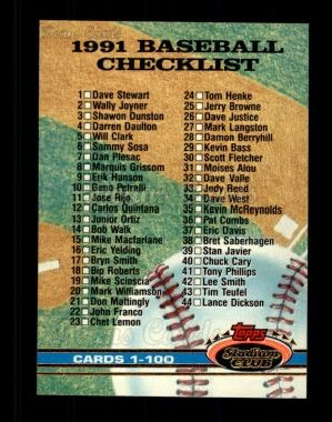 1991 Topps Stadium Club #298   Checklist 1-100