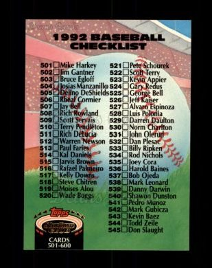 1992 Topps Stadium Club #590   Checklist 501-600