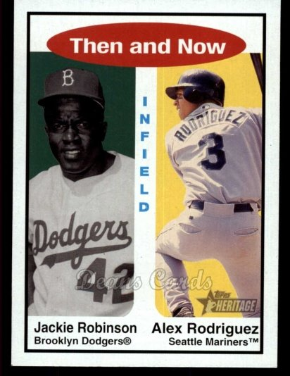 2001 Topps Heritage Then & Now #6 TH Jackie Robinson / Alex Rodriguez