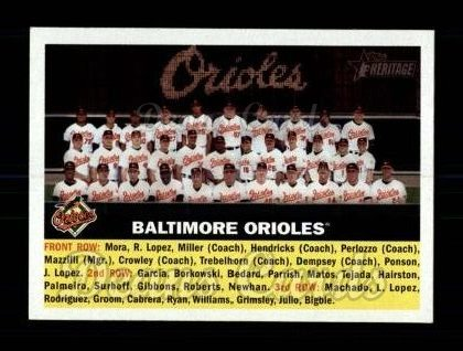 2005 Topps Heritage #100   Baltimore Orioles Team