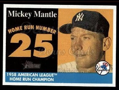 2007 Topps Heritage Mickey Mantle HR Set #25 MMHRC  -  Mickey Mantle Home Run 25