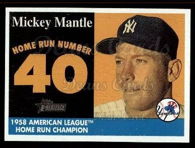 2007 Topps Heritage Mickey Mantle HR Set #40 MMHRC  -  Mickey Mantle Home Run 40