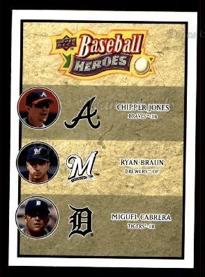 2008 Upper Deck Heroes #189  Chipper Jones / Ryan Braun / Miguel Cabrera