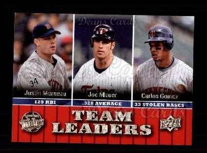 2009 Upper Deck #450   -  Carlos Gomez / Joe Mauer / Justin Morneau Twins Leaders