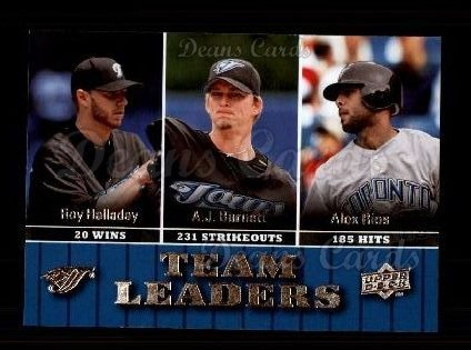2009 Upper Deck #455   -  A.J. Burnett / Alex Rios / Roy Halladay Blue Jays Leaders