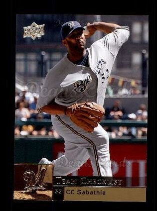 2009 Upper Deck #476   -  C.C. Sabathia Brewers Team Checklist