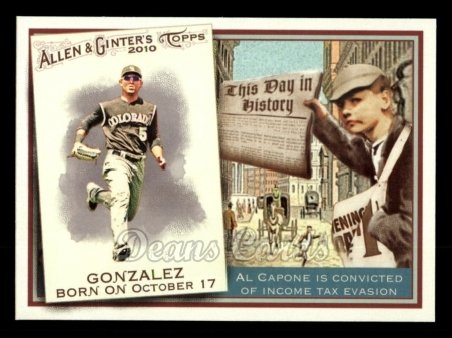 2010 Topps Allen & Ginter This Day In History #16 TDH  -  Carlos Gonzalez This Day in History