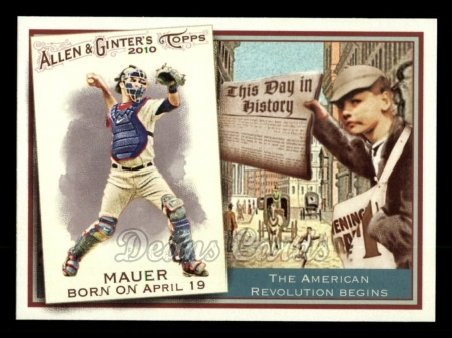 2010 Topps Allen & Ginter This Day In History #17 TDH  -  Joe Mauer This Day in History