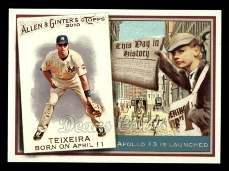 2010 Topps Allen & Ginter This Day In History #31 TDH  -  Mark Teixeira This Day in History