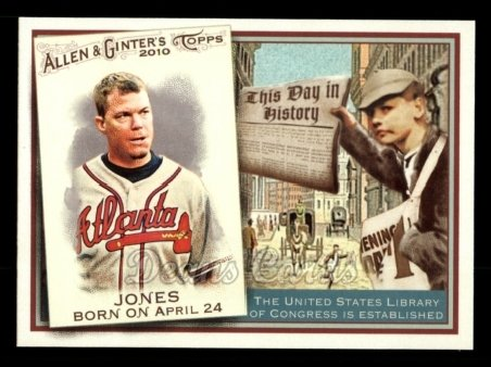 2010 Topps Allen & Ginter This Day In History #5 TDH  -  Chipper Jones This Day in History