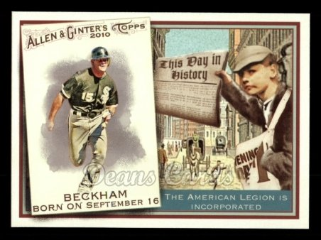 2010 Topps Allen & Ginter This Day In History #51 TDH  -  Gordon Beckham This Day in History
