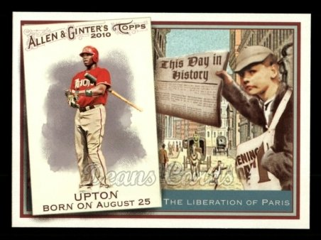 2010 Topps Allen & Ginter This Day In History #52 TDH  -  Justin Upton This Day in History