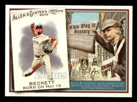 2010 Topps Allen & Ginter This Day In History #67 TDH  -  Josh Beckett This Day in History