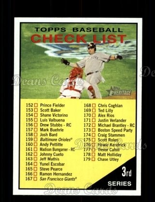 2010 Topps Heritage #189   Checklist