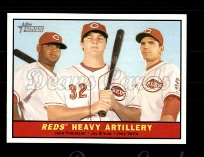 2010 Topps Heritage #25   -  Juan Francisco / Jay Bruce / Joey Votto Reds' Heavy Artillery