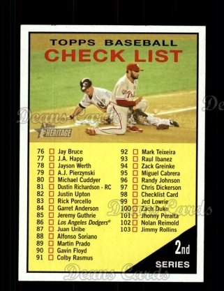 2010 Topps Heritage #98   Checklist