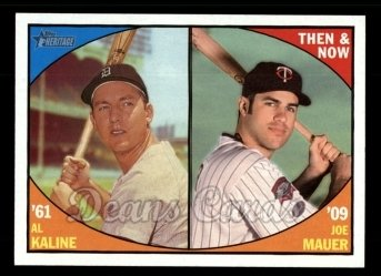 2010 Topps Heritage Then & Now #3 TN  -  Al Kaline / Joe Mauer Then & Now