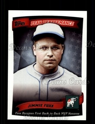 2010 Topps Peak Performance #21 PP  -  Jimmie Foxx Peak Performance