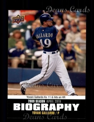 2010 Upper Deck Season Biographies #28 SB Yovani Gallardo