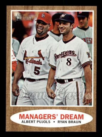 2011 Topps Heritage #18   -  Albert Pujols / Ryan Braun Managers' Dream