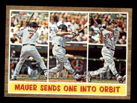 2011 Topps Heritage #316   -  Joe Mauer Mauer Sends One into Orbit