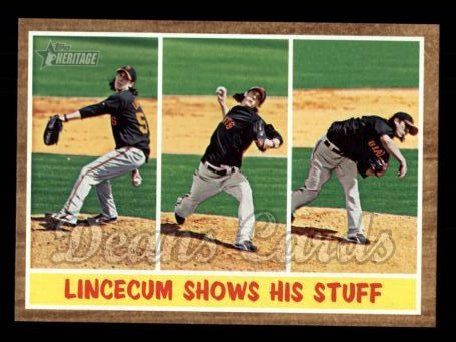 2011 Topps Heritage #319   -  Tim Lincecum Lincecum Shows His Stuff