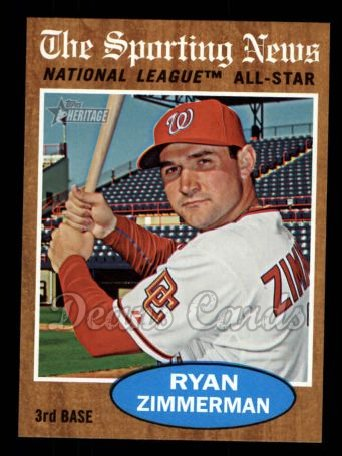 2011 Topps Heritage #392   -  Ryan Zimmerman All-Star