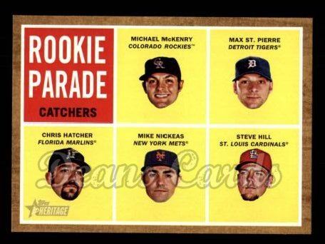 2011 Topps Heritage #496   -  Michael McKenry / Max St. Pierre / Chris Hatcher / Mike Nickeas / Steve Hill Rookie Parade - Catchers