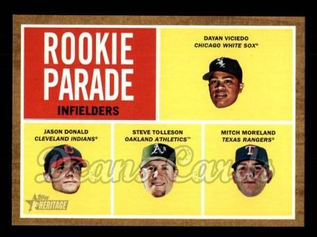 2011 Topps Heritage #499   -  Dayan Viciedo / Jason Donald / Steve Tolleson / Mitch Moreland Rookie Parade - Indielders