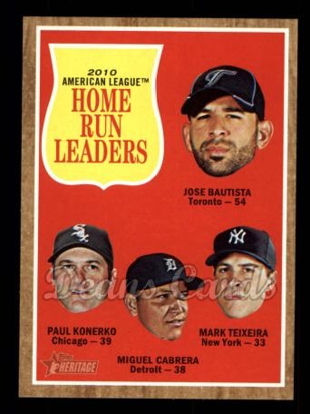 2011 Topps Heritage #53   -  Jose Bautista / Paul Konerko / Miguel Cabrera / Mark Teixeira AL HR League Leaders