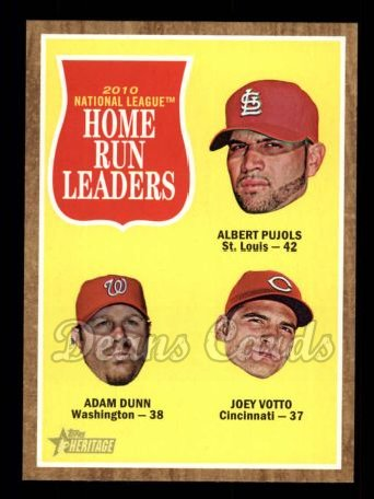 2011 Topps Heritage #54   -  Albert Pujols / Adam Dunn / Joey Votto NL HR League Leaders