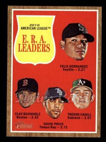 2011 Topps Heritage #55   -  Felix Hernandez / Clay Buchholz / David Price / Trevor Cahill AL ERA League Leaders