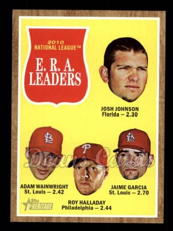 2011 Topps Heritage #56   -  Josh Johnson / Adam Wainwright / Roy Halladay / Jamie Garcia NL ERA League Leaders