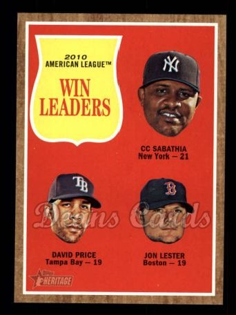 2011 Topps Heritage #57   -  C.C. Sabathia / David Price / Jon Lester AL Wins League Leaders