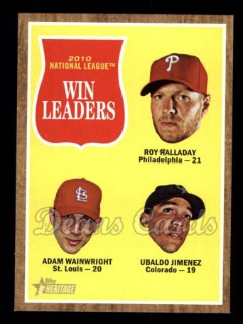2011 Topps Heritage #58   -  Roy Halladay / Adam Wainwright / Ubaldo Jimenez NL Wins League Leaders