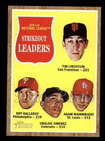2011 Topps Heritage #60   -  Tim Lincecum / Roy Halladay / Ubaldo Jimenez / Adam Wainwright NL K League Leaders
