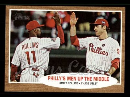 2011 Topps Heritage #72   -  Jimmy Rollins / Chase Utley Philly's Men Up the Middle