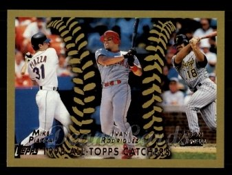 2011 Topps 60 Years of Topps #48 60YOT Mike Piazza / Ivan Rodriguez / Jason Kendall