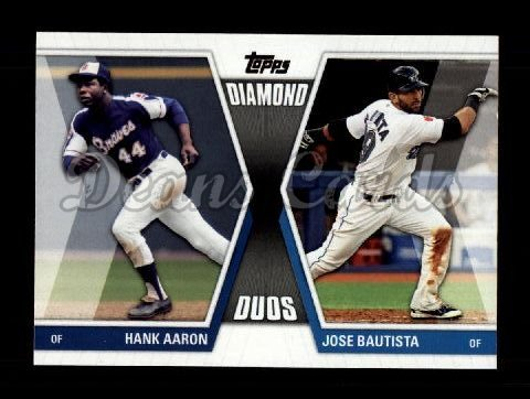 2011 Topps Update Diamond Duos #20 DDU  -  Hank Aaron / Jose Bautista Diamond Duos