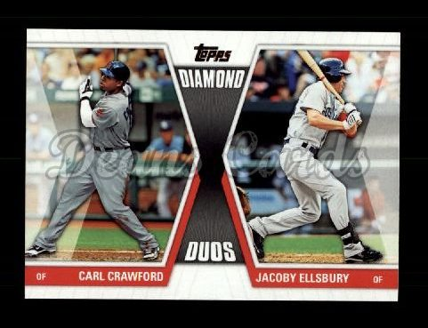 2011 Topps Diamond Duos #11 DD2  -  Carl Crawford / Jacoby Ellsbury Diamond Duos