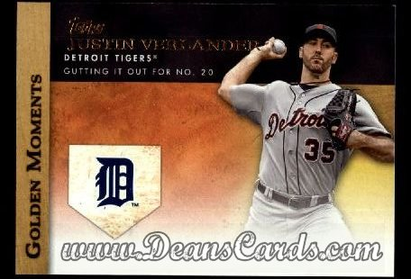 2012 Topps Golden Moments Series 1 #9 GM  -  Justin Verlander Gutting It Out For No. 20