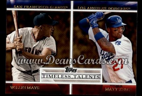 2012 Topps Timeless Talents Inserts #4 TT  -  Willie Mays / Matt Kemp Timeless Talents