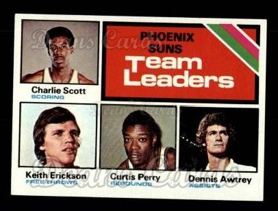 1975 Topps #130   -  Charlie Scott / Keith Erickson / Curtis Perry / Dennis Awtrey Suns Team Leaders